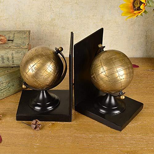 FJNS Globus Kunst Kreative Schwere Buchstützen Messing Skulptur Buch Stand Ornamente Nachahmung Dekoration Handwerk 2-teiliges Set (Ausgenommen Bücher) (Metall-globus, Kunst)