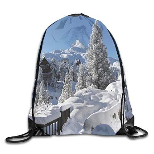 EELKKO Drawstring Backpack Gym Bags Storage Backpack, Winter Season In The North American Countryside Snow Covered Fields Trees,Deluxe Bundle Backpack Outdoor Sports Portable Daypack -