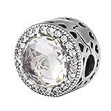 Bakcci Automne européenne Radiant Hearts Bouchon Clip Perles DIY Compatible avec pour Original Pandora Bracelets Argent 925Charm la création de bijoux