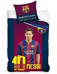 Maxi&Mini - LIONEL MESSI FC BARCELONA LINGE DE LIT PARURE HOUSSE DE COUETTE 160x200 + TAIE 70x80 - DECO CHAMBRE ADOLESCENT (FCB2007)