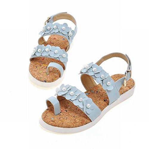 Mee Shoes Damen süß bequem open-toe Flach mit Blümchen und falschen Perlen Zehenring Sandalen Hellblau