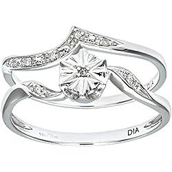Naava - Set de anillos compromiso y boda de oro blanco 9 k (375) con diamante 0.03 ct