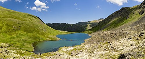 Ray Bulson/Design Pics - Composite Panorama of Hanging Valley Tarn in South Fork Eagle River in Chugach State Park in Southcentral Alaska. Summer. Afternoon. Photo Print (83,82 x 33,02 cm)