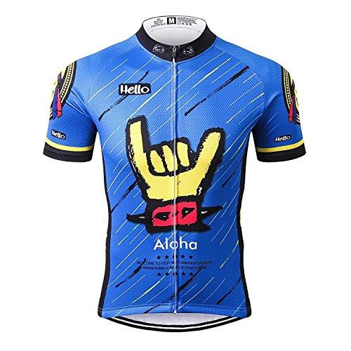 Thriller Rider Sports® Herren Aloha Blue Outdoor Sport MTB Fahrradbekleidung Fahrradtrikot Radsport Kurzarmtrikot Radfahren Trikot 3X-Large (Herren Hose Rider Sport)