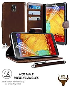 Stylish Protective 100% REAL GENUINE COW LEATHER FLIP CASE POUCH COVER CARD HOLDER WALLET FOR Samsung Galaxy Note 3 III N9000 N9005 + Includes STYLUS PEN + SCREEN PROTECTOR (DARK BROWN)