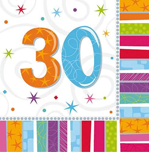 Lollipop Mann Kostüm - 16 Papier Servietten mit der Zahl 30 3lg. 32,7 x 32,7cm 30. Geburtstag