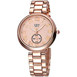 GEDI Beauty Quartz Womens Watch with Roman Number Scale (Rose gold)