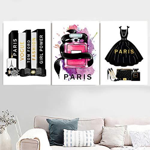 Xwartpic moda libro parigi profumo vestito rossetto wall art tela pittura nordic poster e stampe immagini a parete per soggiorno decor g 60 * 80 cm * 3 pz