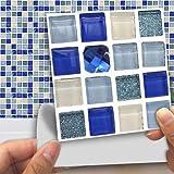 Loveinwinter 18 PCS Pegatinas De Azulejos Cristal Azul Patrón De Mosaico De Diseño Vinilo Decorativo Salón Fondo Azulejos Pared Pegatina 3D