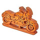 JsaCherry Denksportaufgaben Holz Motorrad - Holzspielzeug - 3D Puzzle - Knobelspiel - Geduldspiel aus Holz