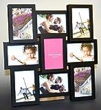Fotogalerie 9 Fotos 10x15 - schwarz - Glasscheiben Fotorahmen Größe: 46x46cm - 3D Optik - Bilderrahmen Bildergalerie Fotocollage