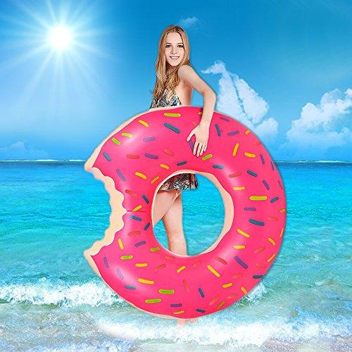 opamoo Anillo de Natación, Donut Anillo de Natación Inflable de Natación Donut Anillo de Natación para Adultos y Niños Anillo de Natación Gigante Pool Party- Rosa, 120cm