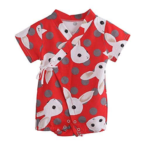Faux Silk Coat (feiXIANG Neugeborenes Strampler Cartoon Kaninchen Schlafanzug Kurzarm Kinder Kleidung 0-12 Monate(A/Rot,73))