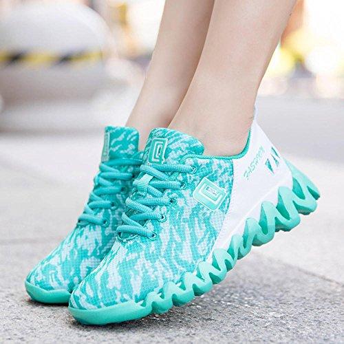Unisex Adulto Scarpe da Corsa Ginnastica Fitness Running Sneakers Donna Uomo 4.5cm Nero Blu Verde Rosa 35-44 Verde
