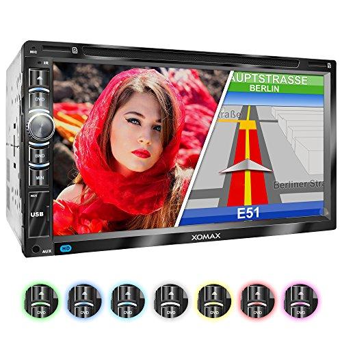 XOMAX XM-2DN6903 Autoradio mit GPS Navigation I Navi Software inkl. Europa Karten I Bluetooth Freisprecheinrichtung I 18cm Touchscreen Bildschirm I DVD CD Player I SD I USB I AUX I 2DIN