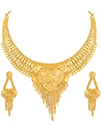 Asmitta Classy Flower Design Gold Plated Choker Necklace Set For Women