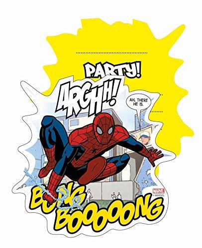 Partido Ênico - Tarjetas de invitación para las celebraciones de Marvel Ultimate Spider-Man, 6 piezas