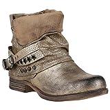 Stiefelparadies Gefütterte Damen Biker Boots Nieten Schnallen Stiefeletten Schuhe 149767 Gold Nieten 39 Flandell