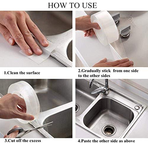 Z&Y Kitchen Sink Sealing Tape,Bathtub Caulk Strip,Transparent Acrylic Self Adhesive Waterproof Caulking Tape for Bathroom Shower Bath Tub Toilet(5 * 300cm)