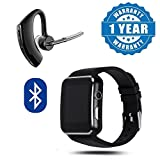 Drumstone Wireless On-Ear Voyager Bluetooth Outdoor Headset with Mic & X6 Bluetooth Smart Wrist Watch with Camera & Sim Card Support