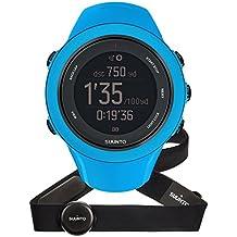 Suunto AMBIT3 SPORT HR - Reloj GPS unisex multisport, 15 h de duración de la batería, monitor frecuencia cardiaca + cinturón de frecuencia cardiaca (talla: M), sumergible hasta 50 m, color azul