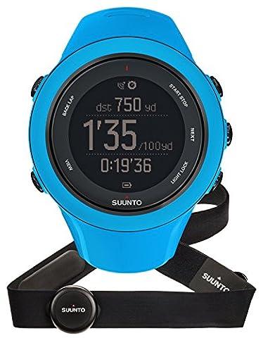 Suunto, AMBIT3 SPORT HR, Montre GPS Multisport unisexe, 15h d'autonomie, Cardiofréquencemètre + Ceinture de poitrine (Taille : M), Étanchéité jusqu'à 50 m, Bleu, SS020679000