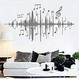 Ajcwhml Musica Audio Note Decalcomanie da Parete Musica di sottofondo Adesivi murali Camera da Letto in Vinile per Bambini vivaio Camera Decorazione casa 207cm x 110cm