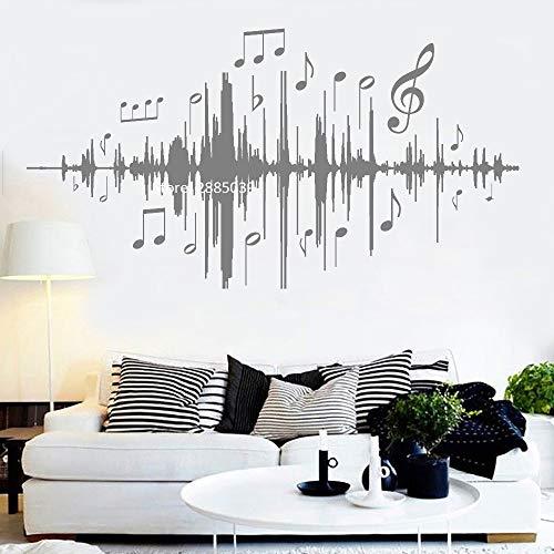 Ajcwhml Musik Audio Noten Wandtattoos Hintergrundmusik Wandaufkleber Vinyl Schlafzimmer Kinderzimmer Kinderzimmer Wohnzimmer Wohnkultur 158cm x 84cm Ster-audio