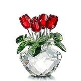 H&D Deko-Blumenstrauß aus Kristallglas rote Rosen mit Geschenkbox