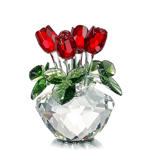 H & D Spring bouquet glass flowers red rose figure elegant gift ornament