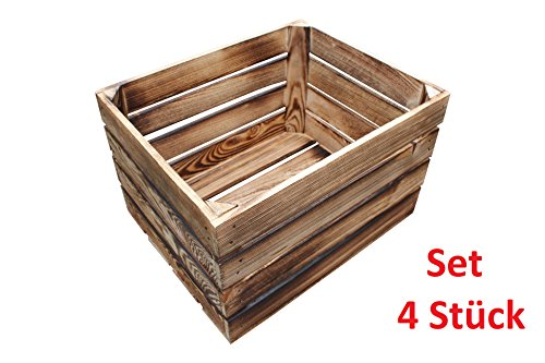 4 Stück NEUE geflammte Holzkisten Obstkisten Apfelkisten Weinkiste - 4er Set