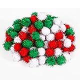 LUTER Weihnachten Pom Poms Pompoms Bunt Bälle Glitter Pompons Dekorationen Weihnachten DIY Bastelbedarf für Kinder, 25mm, Grün, Rot, Weiß (100 Stück)
