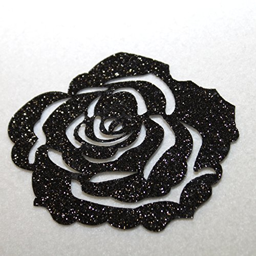 3 Rose Glitter thermocolant hotfix Patch Custom Bling Scintillante N ° 24 nera