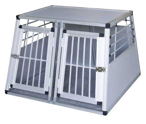 Kerbl 82393 Alu-Transportbox für Hunde 92 x 97 x 68 cm, mit 2 Türen + Kissen