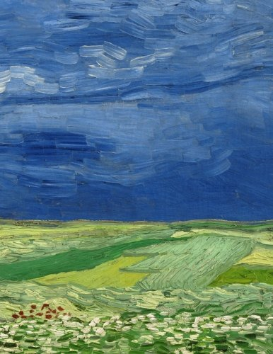 Wheatfield under thunderclouds, Vincent van Gogh. Graph paper journal: 150 pages,  8.5 x 11 inches (21.59 x 27.94 centimeters), diary, composition book. Soft cover.