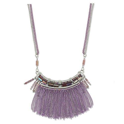 Collier fantaisie multi chaines, strass et perles de rocailles Veronilla améthyste améthyste