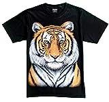 T-Shirt 3D Glow IN Dark Tier Mann Unisex (Large, Yellow Tiger 1 Portrait)