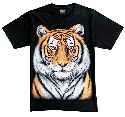 T-Shirt 3D Glow IN Dark Tier Mann Unisex (Medium, Yellow Tiger 1 ()
