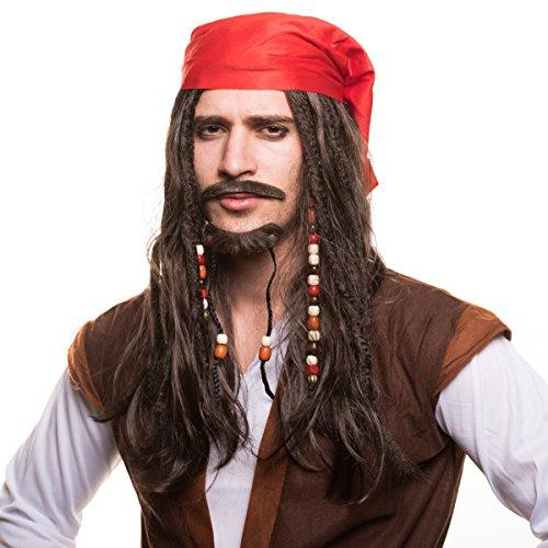 erücke Piratenperücke mit Perlen und roten Bandana für das perfekte Piratenkostüm zum Fasching und Karneval (Captain Jack Sparrow Kostüme)