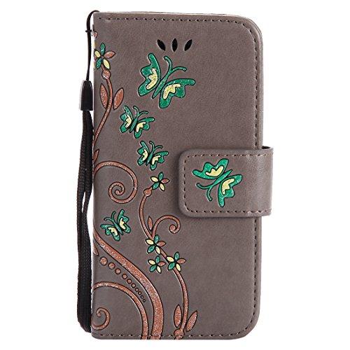 Nancen Compatible with Handyhülle Apple iPhone 5 Hülle,Apple iPhone 5 / 5S / SE (4 Zoll) Leder Wallet Tasche Brieftasche Schutzhülle, Prägung Schmetterling Muster (Unlocked I Phone 5s 32gb)