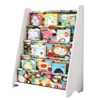 GAOQQI-Sling Bookshelf Childrens Colourful 4th Floor Bookcase Floor-standing Bedroom Easy To Clean Book Organizer, 12 Colors (Color : White, Size : B60X28X76.3cm)
