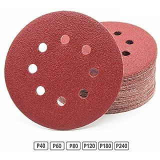 180 Stück Klett-Schleifscheiben Ø 125 mm Sortiment: Körnung je 30 x 40/60 / 80/120 / 180/240 für Exzenter-Schleifer 8 Loch Scheiben Klett Schleifpapier