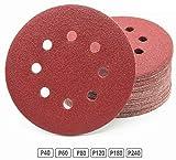 60 pezzi dischi abrasivi Ø 125 mm assortimento: grana da 10 X 40/60/80/120/180/240 per smerigliatrice orbitale di 8 dischi carta vetrata
