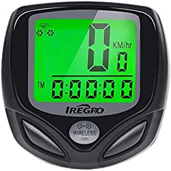 Bicicleta Cuentakilometros iRegro Bicicleta Velocimetroautomático Despertador LCD pantalla impermeable Wireless bicicleta velocímetro, odómetro de bicicleta de la bici