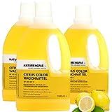 NATUREHOME Bio-Waschmittel flüssig ideal für Buntwäsche I VEGAN I Color-Waschmittel mit natürlichem Zitrone-Minze-Duft I 3er Set 1,5L