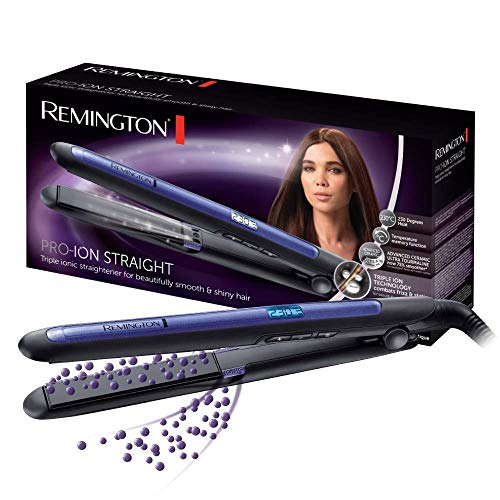 Remington Haarglätter Pro-Ion Straight S7710 zum Glätten & Locken, Testsieger, dreifache Ionen-Technologie, Glätteisen mit Ultra-Turmalin-Keramikplatten, LED Display mit 9 Temperatureinstellungen