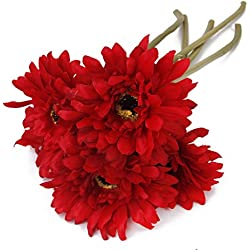 5pcs Flores Margaritas Africanas Artificiales Flores Decorativas de Color Rojo
