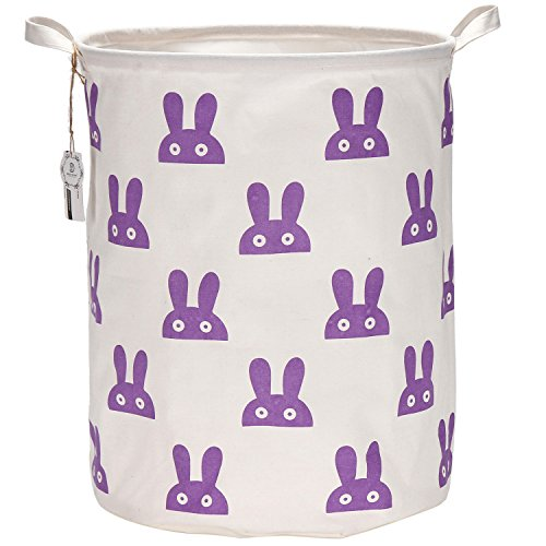 Sea Team 19.7 Inch Large Sized Waterproof Coating Ramie Cotton Fabric Folding Laundry Hamper Bucket Cylindric Burlap Canvas Storage Basket with Stylish Purple Design (Purple Bunny)