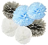 12pcs weißes graues Baby-blaues hängendes Gewebe-Papier Pom Pom 8inch 10inch Papierblumen-Partei-Dekoration-Kugeln Geburtstags-Jungen-Babyparty-Hochzeits-Dekorationen Partei-Versorgungsmaterialien