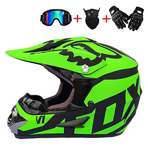 Motocross Helm mit Brille, Adult Off Road Motorradhelm Crosshelm Set Handschuhe Maske, Unisex Fullface Cross Helm Downhill Quad Enduro ATV Motorrad Schutzhelm für Herren Damen, Grün,S